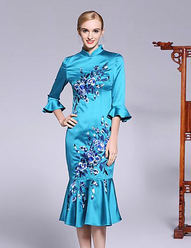 עומד פרח, פרחוני - שמלה בתולת ים \חצוצרה שרוול התלקחות בגדי ריקוד נשים