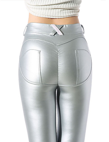abordables Pantalons Femme-Femme Chic de Rue Quotidien Skinny / Mince Pantalon - Couleur Pleine Noir Vin Argent S M L