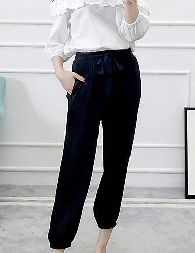 מכנסיים הארם ניילון מיקרו-אלסטי גיזרה בינונית (אמצע) אחיד יום יומי קיץ בגדי ריקוד נשים