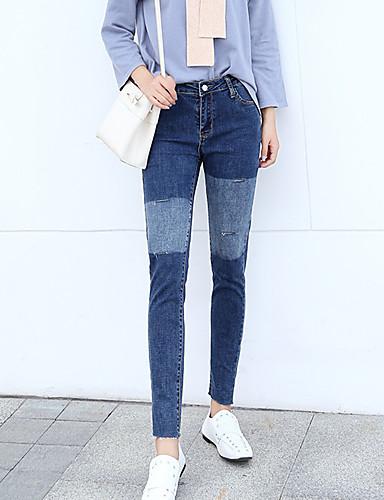 בגדי ריקוד נשים כותנה ג'ינסים מכנסיים - גיזרה גבוהה קולור בלוק