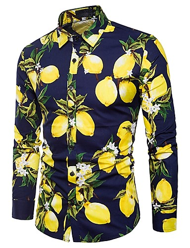 7cedd43b5 Men's Daily Club Cotton Shirt - Fruit Jacquard / Print White US36 / Long  Sleeve / Spring
