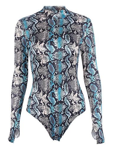 povoljno Ženske majice-Žene Izlasci Sofisticirano Uski okrugli izrez Plava Slim bodysuit, Zmijska koža Print S M L Dugih rukava Proljeće Jesen