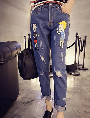 בגדי ריקוד נשים וינטאג' כותנה ג'ינסים מכנסיים - גיזרה גבוהה דפוס / סתיו