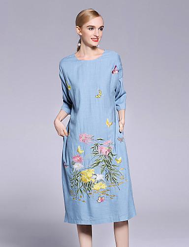 סטרפלס U עמוק פרח, פרחוני - שמלה משוחרר סגנון סיני בגדי ריקוד נשים