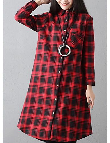משובץ דמקה צווארון חולצה כותנה, חולצה - בגדי ריקוד נשים / סתיו / חורף