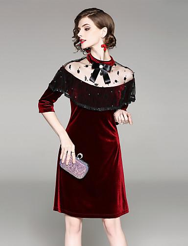 מידי מעל הברך אחיד - שמלה גזרת A סגנון רחוב בגדי ריקוד נשים
