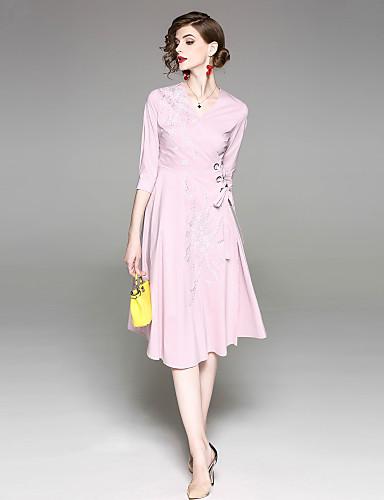 צווארון V בסיסי, צבע אחיד - שמלה נדן בגדי ריקוד נשים