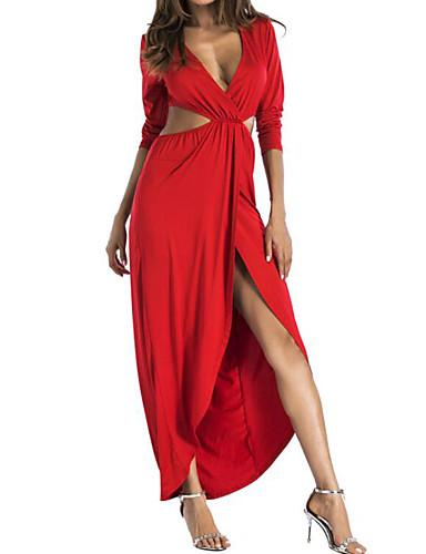 צווארון V מותניים גבוהים מקסי אחיד - שמלה נדן ליציאה בגדי ריקוד נשים