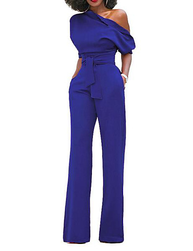 d993e38a240a Women s Wide Leg One Shoulder Wine Light Blue Army Green Wide Leg Jumpsuit