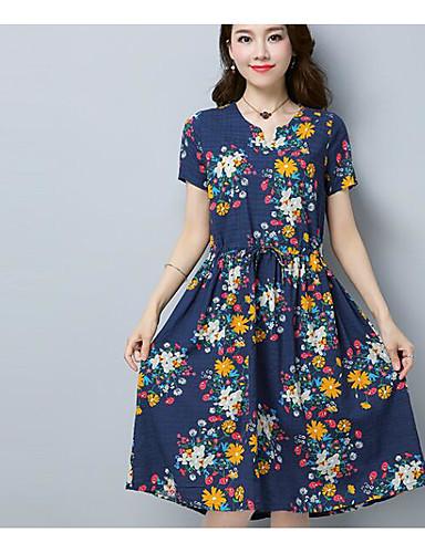מידי פרחוני - שמלה גזרת A כותנה בגדי ריקוד נשים