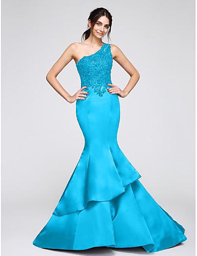 b596973de حورية البحر كتف واحد ذيل كنسية صغيرة ستان حفلة رسمية فستان مع زينة بواسطة  TS Couture®
