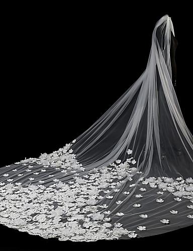 שתי שכבות סגנון מודרני סגנון פרח אביזרים אפליקצית קצה תחרה גדול ירח דבש נסיכות ארופאי תחרה חתונה הינומות חתונה צעיפי סומק צעיפי קפלה עם