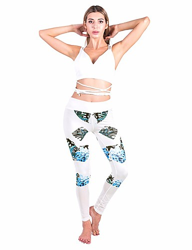 בגדי ריקוד נשים כותנה סקיני מכנסיים פרחוני