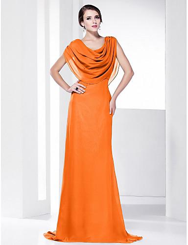 preiswerte Abendkleider-Eng anliegend Wasserfallausschnitt Pinsel Schleppe Chiffon Formeller Abend Kleid mit Drapiert durch TS Couture®