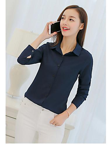 billige Topper til damer-Skjortekrage Skjorte Dame - Ensfarget Aktiv Dusty Rose Vin / Høst