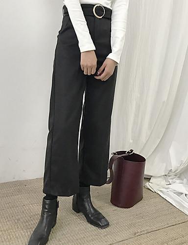 בגדי ריקוד נשים כותנה רגל רחבה מכנסיים - גיזרה גבוהה אחיד