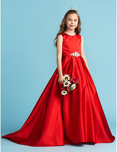 f8c9ba09f46 A-Line   Princess Jewel Neck Floor Length Satin Junior Bridesmaid Dress  with Bow(s)   Crystals   Pleats by LAN TING BRIDE®