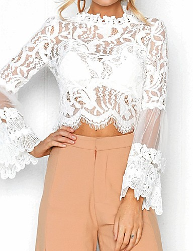 billige Topper til damer-Løstsittende Bluse Dame - Ensfarget, Blonde Klubb Hvit / Blonder / Ren / Sexy