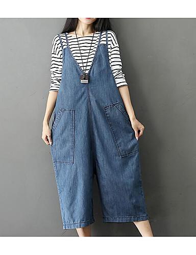 בגדי ריקוד נשים וינטאג' כותנה בגד מכנסיים - גיזרה גבוהה אחיד / חורף