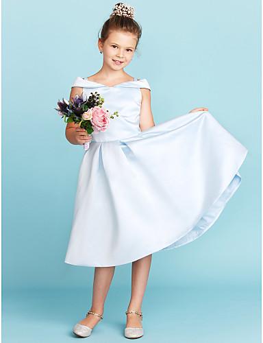 94532d5070c0 A-Line / Princess Off Shoulder Tea Length Satin Junior Bridesmaid Dress  with Pleats by LAN TING BRIDE®