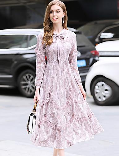 צוואר בדוגמת דרפה מותניים גבוהים מידי תחרה, צבע אחיד - שמלה תחרה וינטאג' / מתוחכם ליציאה בגדי ריקוד נשים