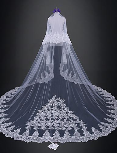 שתי שכבות חתונה / ירח דבש הינומות חתונה צעיפי קתדרלה עם תחרה טול / קלאסי