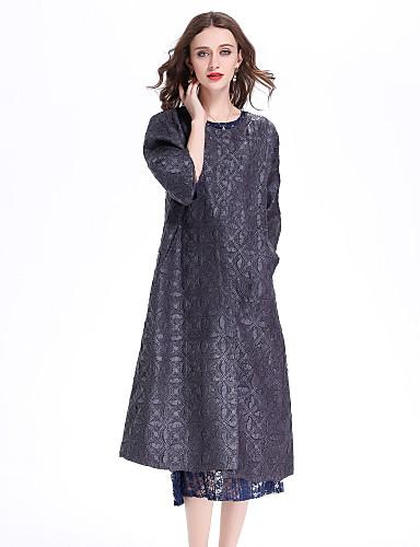 אחיד צווארון עגול סגנון סיני בוהו ליציאה חגים ארוך מעיל בגדי ריקוד נשים, אביב קיץ קפלים פוליאסטר