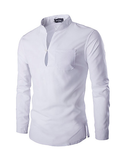 אחיד צווארון עומד(סיני) כותנה, חולצה - בגדי ריקוד גברים / שרוול ארוך
