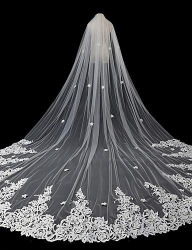 שכבה אחת סגנון מודרני / אביזרים / סגנון פרח הינומות חתונה צעיפי סומק / צעיפי קפלה עם אפליקציות טול / חיתוך זווית / מפל / אפליקצית קצה תחרה