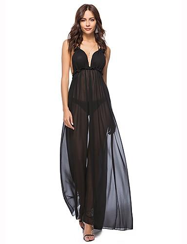שחור קולר מקסי צבע אחיד - שמלה משוחרר סווינג חוף מועדונים בגדי ריקוד נשים