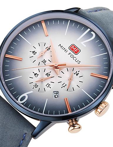 MINI FOCUS בגדי ריקוד גברים שעון יד Japanese קווארץ שעון עצר שעונים יום יומיים מגניב עור אמיתי להקה אנלוגי יום יומי מינימליסטי שחור / כחול / חום - שחור חום כחול / מתכת אל חלד
