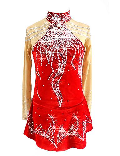 שמלה להחלקה אמנותית בגדי ריקוד נשים / בנות החלקה על הקרח שמלות אדום ספנדקס ביגוד להחלקה על הקרח נצנצית שרוול ארוך החלקה אמנותית
