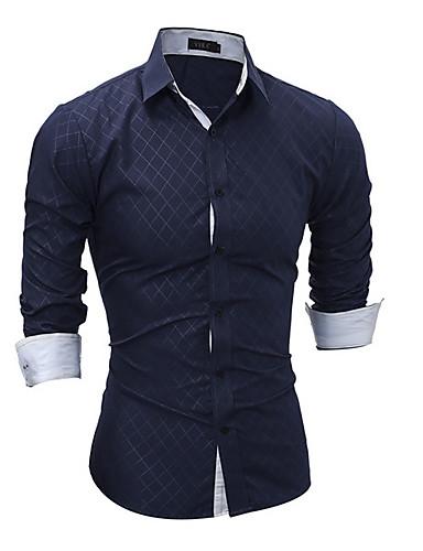 אחיד כותנה, חולצה - בגדי ריקוד גברים / שרוול ארוך