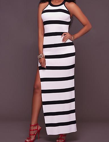 מותניים גבוהים מקסי פסים - שמלה צינור בגדי ריקוד נשים / קיץ