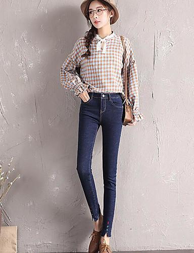 בגדי ריקוד נשים כותנה סקיני מכנסיים - גיזרה גבוהה אחיד