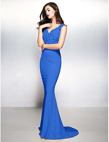 d5c110f84ca Sheath   Column V Neck Sweep   Brush Train Jersey   Sheer Lace Beautiful  Back Formal Evening Dress with Appliques by TS Couture®