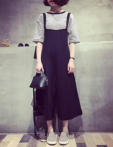 בגדי ריקוד נשים רגיל כותנה רגל רחבה / בגד מכנסיים - גיזרה גבוהה אחיד / אביב / קיץ / ליציאה