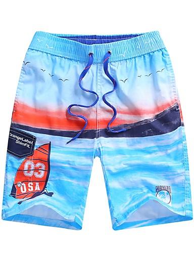 L XL XXL פרחוני, בגדי ים חלק אחד (שלם) פול כחול בהיר בסיסי בוהו בגדי ריקוד גברים