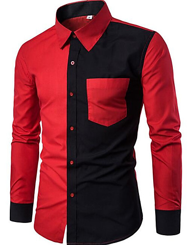 אחיד סגנון רחוב חולצה - בגדי ריקוד גברים / שרוול ארוך