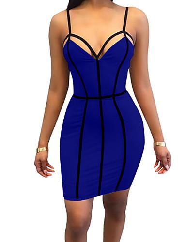 כחול כתפיה מיני גב חשוף, צבע אחיד - שמלה צינור נדן סגנון רחוב ליציאה בגדי ריקוד נשים