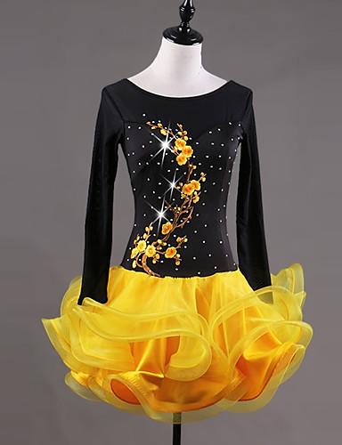 Λάτιν Χοροί Φορέματα Γυναικεία Επίδοση Spandex Οργάντζα Κέντημα Κρύσταλλοι    Στρας Με διαδοχικές σούρες Μακρυμάνικο Φόρεμα 483c23368ff
