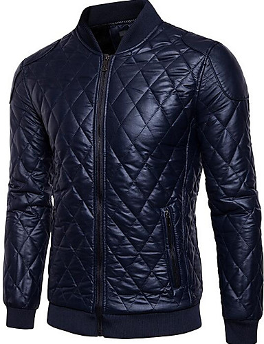 cheap Leather Jackets-Men's Daily Ordinary Spring / Winter Regular Leather Jacket, Solid Colored Stand Long Sleeve PU Black / Navy Blue XL / XXL / XXXL
