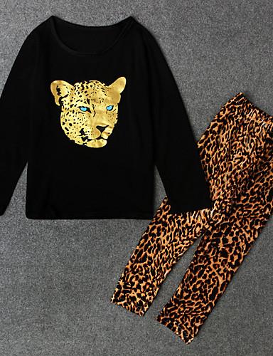 Κοριτσίστικα Ζώο Σετ Ρούχων, Πολυεστέρας Άνοιξη Φθινόπωρο Μακρυμάνικο Μαύρο Μπεζ Σκούρο γκρι