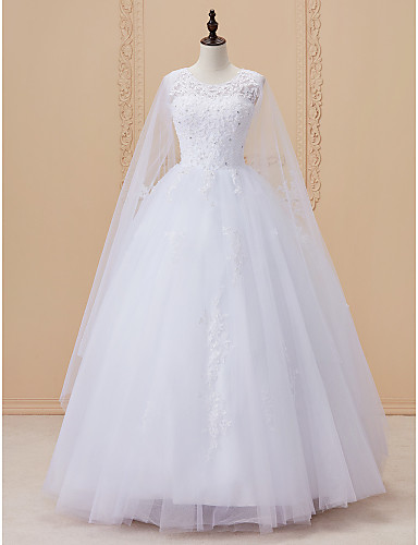 Ballkleid U-Ausschnitt Kathedralen Schleppe Spitze Satin Tüll Hochzeitskleid mit Paillette Spitze durch LAN TING BRIDE®