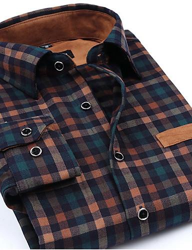 גיאומטרי פשוט חולצה - בגדי ריקוד גברים / שרוול ארוך