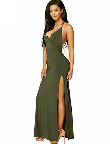 צווארון V מקסי חלול חיצוני, צבע אחיד - שמלה סווינג כותנה בגדי ריקוד נשים / קיץ