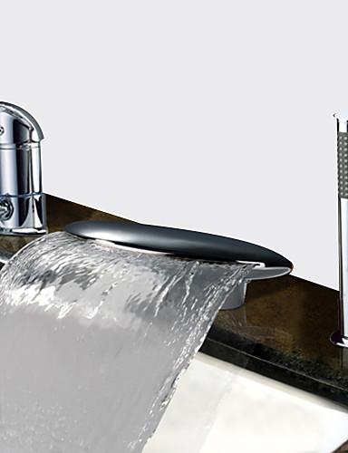billige Sidesray-Badekarskran - Moderne Krom Badekar Og Dusj Keramisk Ventil Bath Shower Mixer Taps / To Håndtak tre hull