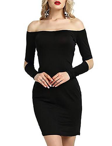 סטרפלס מעל הברך צבע אחיד - שמלה נדן רזה בסיסי ליציאה בגדי ריקוד נשים / קיץ