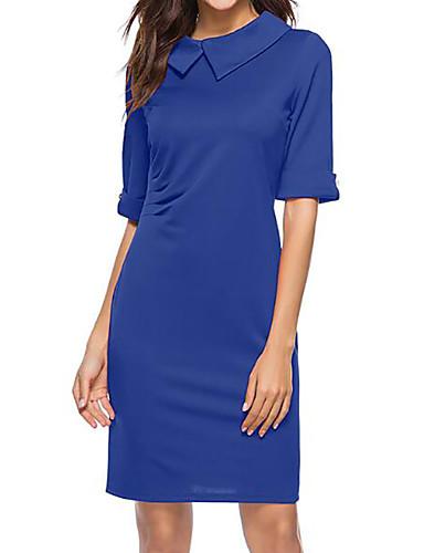 בגדי ריקוד נשים בסיסי רזה מכנסיים - צבע אחיד כחול תלתן / צווארון פיטר פן