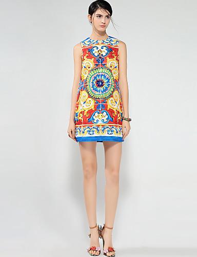 מעל הברך דפוס, משובץ - שמלה גזרת A בוהו / סגנון רחוב בגדי ריקוד נשים